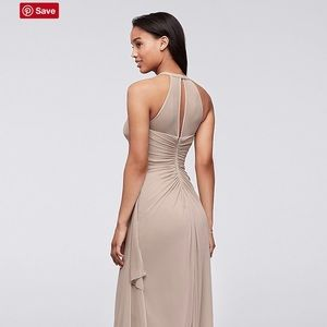 David's Bridal long mesh dress illusion neckline